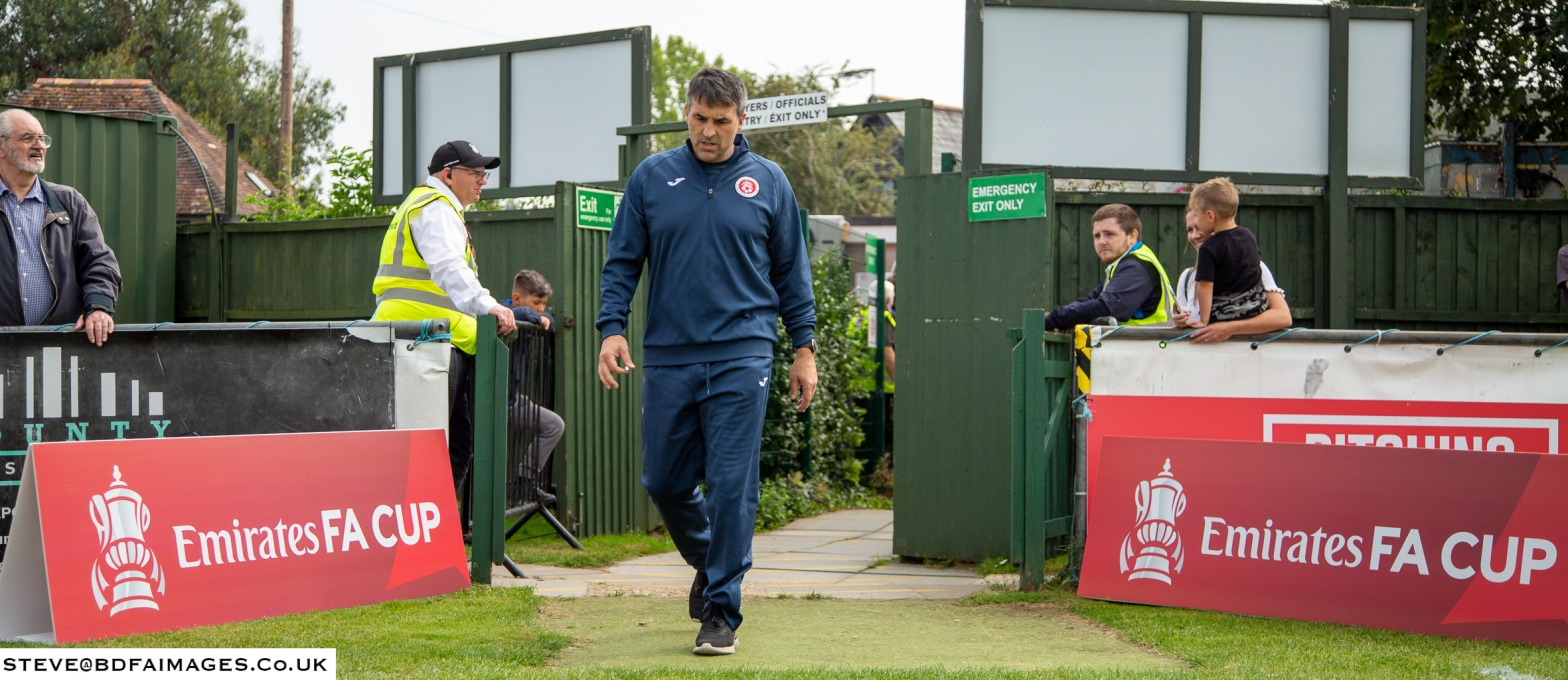 Tom Killick walks out ahead of an FA Cup Tie. Full Rights Steve Harris BDFAIMAGES.CO.UK